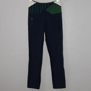 Lululemon Navy, Green, & White Striped Yoga Pants